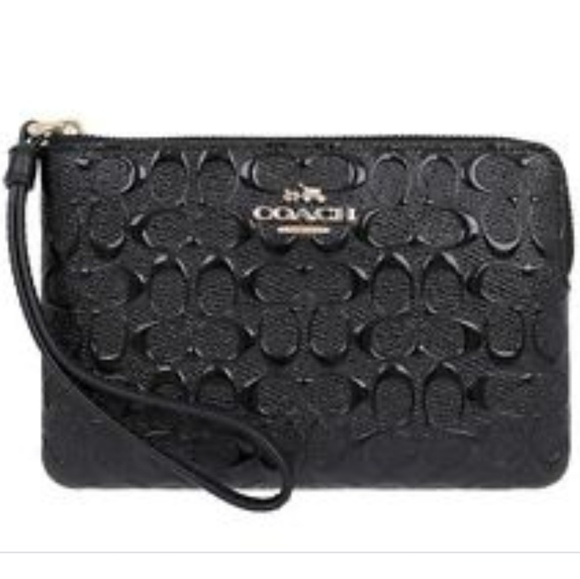 d635aaa6e887 Coach Signature Debossed Patent Leather Wristlet